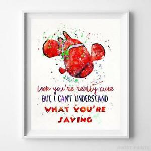 Finding Nemo Quote Type 1 Wall Art Disney Watercolor Poster Home Decor UNFRAMED