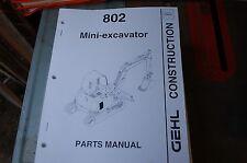 Gehl 802 Mini Excavator Trackhoe Crawler Parts Manual Book Catalog List Spare