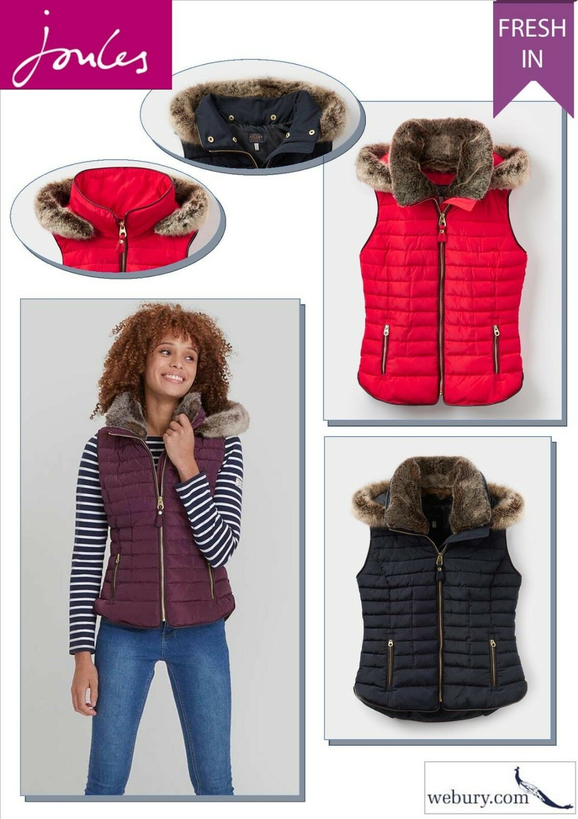 Joules Melbury Padded Gilet with fur trim - Red, Navy, Burgundy - sizes