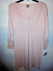 New NATORI Blush Pink Lace Trim Super Soft Night Gown Sleepshirt ... 19119f816