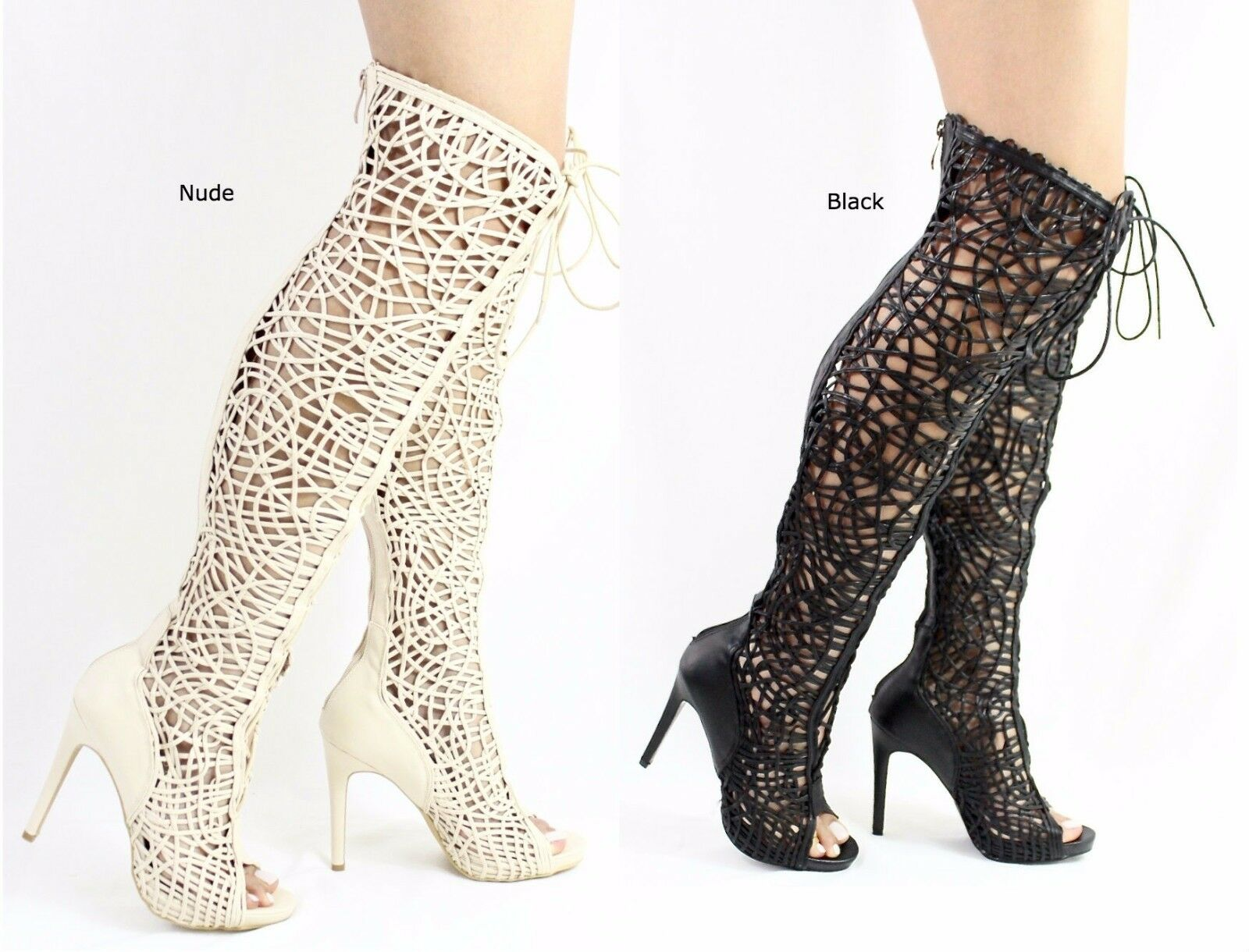 Olga-YH-2 Thigh High Strappy Gladiator Lace Up Open Stiefel Toe Heel knee High Stiefel Open f859ba