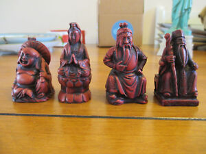 4-Vintage-Shichifukujin-Lucky-Gods-Japanese-Red-Resin-3-034-tall-Great-Condition
