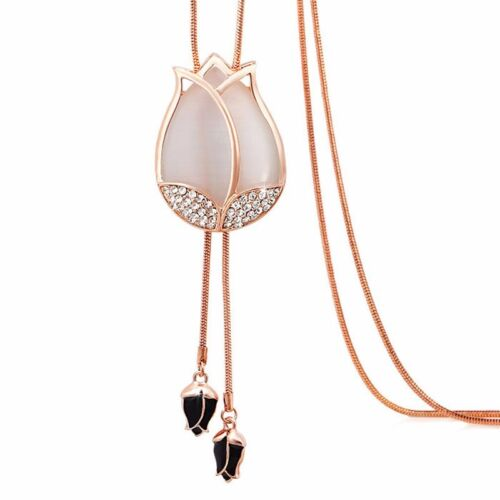 Fashion Crystal Flower Women Charm Statement Long Necklace Chain Pendant Jewelry