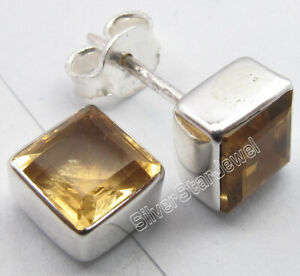 CITRINE-6-MM-Square-Shape-GEMSTONE-925-SOLID-Silver-Studs-Earrings-0-3-Inch