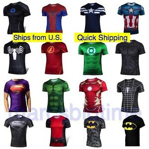 Mens-Casual-Sports-T-Shirt-Superhero-Costume-Top-Tee-Jersey-Cycling-Shirt