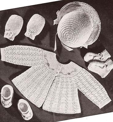 Vintage Crochet PATTERN to make Baby Set Bonnet Sacque Jacket Sweater Shoes Hoye