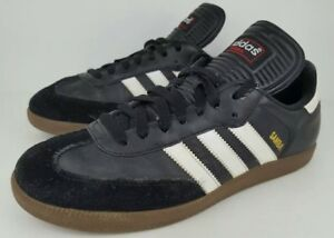 ded7264c5 Adidas Mens Size 7.5 Samba Black Leather Classic Athletic Sneakers ...
