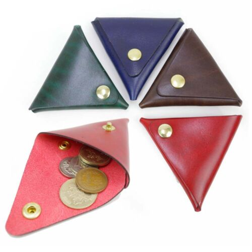 Fuchsia Flower Pattern Real Leather Handmade Triangle Coin Purse UK Handmade