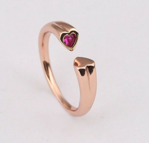 GENUINE S925 ROSE GOLD TWO HEARTS RED//PINK STONE RING SIZE 58  LIMITED OFFER!