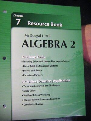 Holt McDougal Larson Algebra 2 Resource Book Chapter 7 9780618734511 EBay