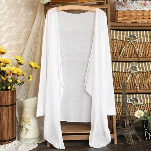 Women Ladies Long Thin Casual Cardigan Cotton Sun Protection Clothing Tops Coat