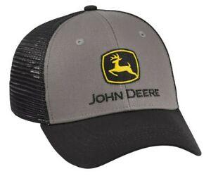 JOHN DEERE *CHARCOAL w/BLACK MESH BACK* Snapback Logo CAP HAT *BRAND NEW*