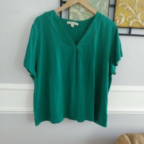 Carolyn Taylor green V neck knit top sz 3X Carolyn