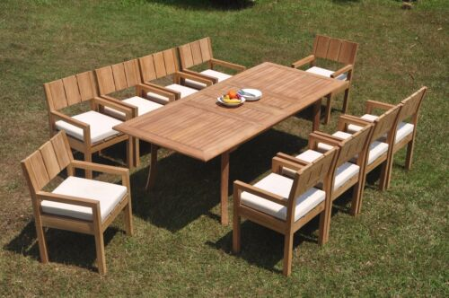 """DSVR A-Grade Teak 11pc Dining Set 94"""" Rectangle Table 10 Arm Chair Outdoor 9781570596513"""