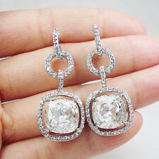 Bride Art Deco Wedding Buckle Square Earrings Pierced Dangle Clear Crystal