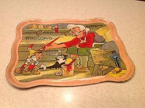 Vintage-Tin-Litho-Tea-Set-Tray-Pinocchio-Geppetto-Ohio-Art-RARE-Find-Antique