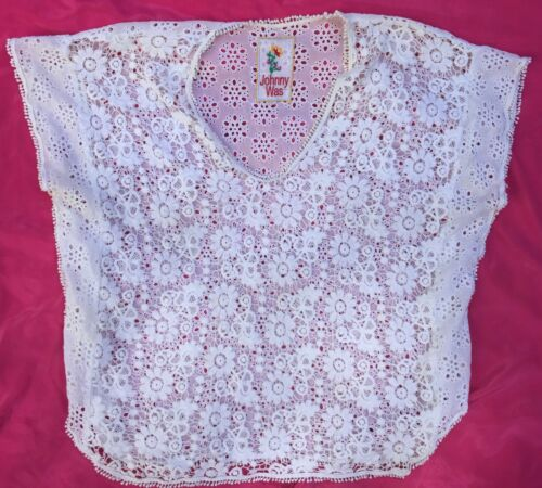 Johnny Was White Floral Eyelet Blouse Sz L Top cot