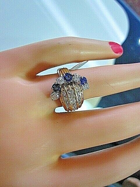 UNIQUE ANTIQUE ESTATE RETRO DECO 1.75 CT DIAMOND SAPPHIRE HANDMADE 14K WAVE RING