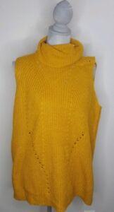 Cloud Chaser Womens Sleeveless Turtleneck Sweater Size Xl Mustard