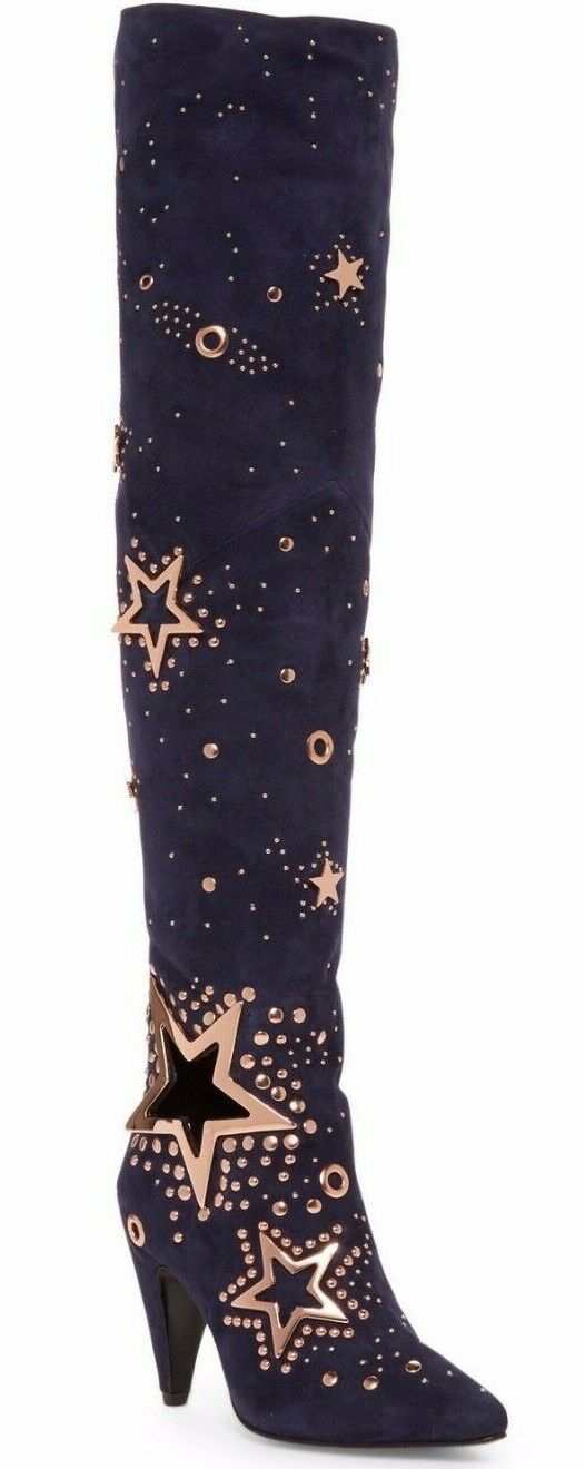 995 Ivy Kirzhner Stardust over-the-hasta over-the-hasta over-the-hasta la rodilla para mujer Bota De Cuero Azul Oscuro Talla 6.5  El ultimo 2018