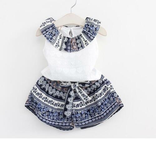Girls Clothing Sets Summer Cotton Vest Two-piece Sleeveless Children Set 4T