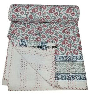 Floral-Handmade-Kantha-Quilt-Indian-Bedspread-Throw-Cotton-Blanket-Gudari-Twin