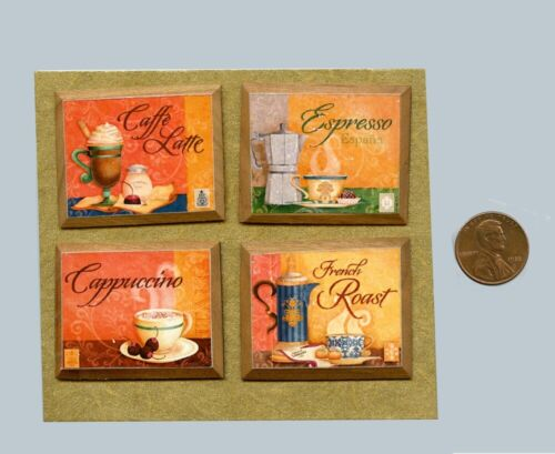 Coffee Pictures On Cherry Wood Plaques DOLLHOUSE MINIATURES 1:12 SCALE