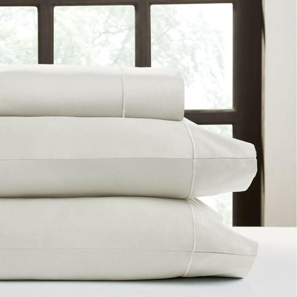 PERTHSHIRE Ivory T620 Solid Sateen California King Sheet Set