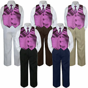 4pc Boy Suit Set Eggplant Plum Wisteria Vest Necktie Baby Toddler Kid Pants S-7
