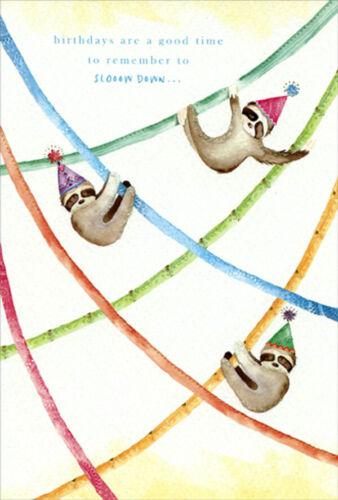 Humourous Birthday Card Pictura Three Sloths Happy Buddha Funny