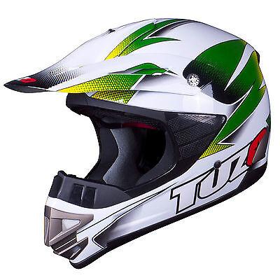 Tuzo MX3 Adult Motocross MX Enduro ATV Quad Crash Helmet White-Green Medium