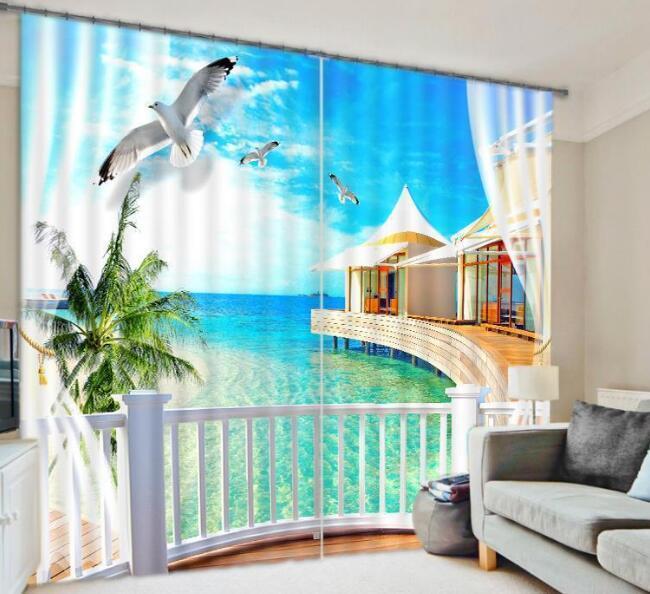 Paisaje mar 3D 012 Cortinas de impresión de cortina de foto Blockout Tela Cortinas Ventana CA