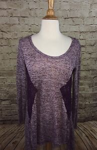 New-Jrs-Eyeshadow-High-Low-Tunic-Top-Maroon-Long-Sleeve-Small-NWTs