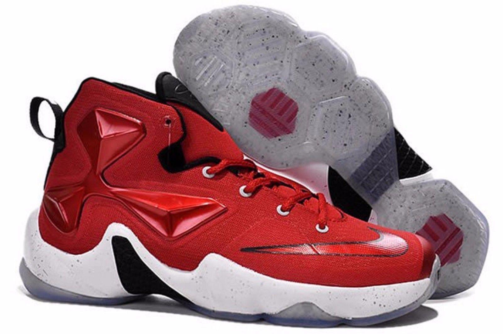 New Men's Nike Lebron XIII Shoes (807219-610)  University Red/White-Black-Laser