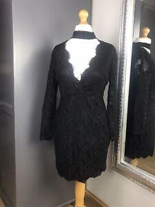 AX-Paris-Black-Choker-Long-Sleeved-Dress-Sz-14-Mini-Bodycon-Christmas-Night-Out