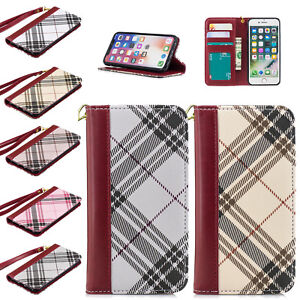 Luxury Grid Phone Pu Leather Wallet Flip Case Covers For Iphone Xs