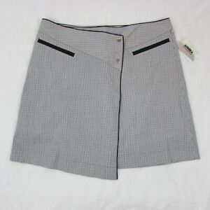 Annika-Women-039-s-Golf-Skort-Gray-Black-Plaid-Athletic-Skirt-with-Shorts-Size-10