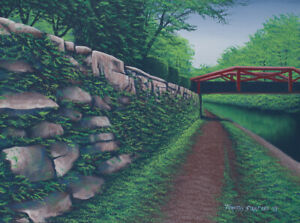 Original Acrylic Painting Rock Wall & Bridge 18x24 Landscape by Timothy Stanford