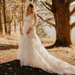 Details about Elegant Lace Wedding Dresses Plus Size Wedding Gowns  Maternity Bridal Dresses