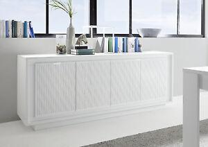 Dettagli su Mobile 4 ante bianco opaco madia sportelli decorati moderno  soggiorno SHY 08 DEC