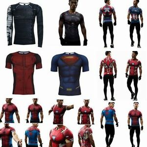 Men-039-s-Compression-Muscle-Marvel-Superhero-Top-T-Shirts-Fitness-Tight-Sports-GYM