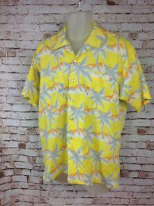4228a20e Image is loading Vintage-TROPICANA-Mens-L-Yellow-Aloha-Hawaiian-Shirt-