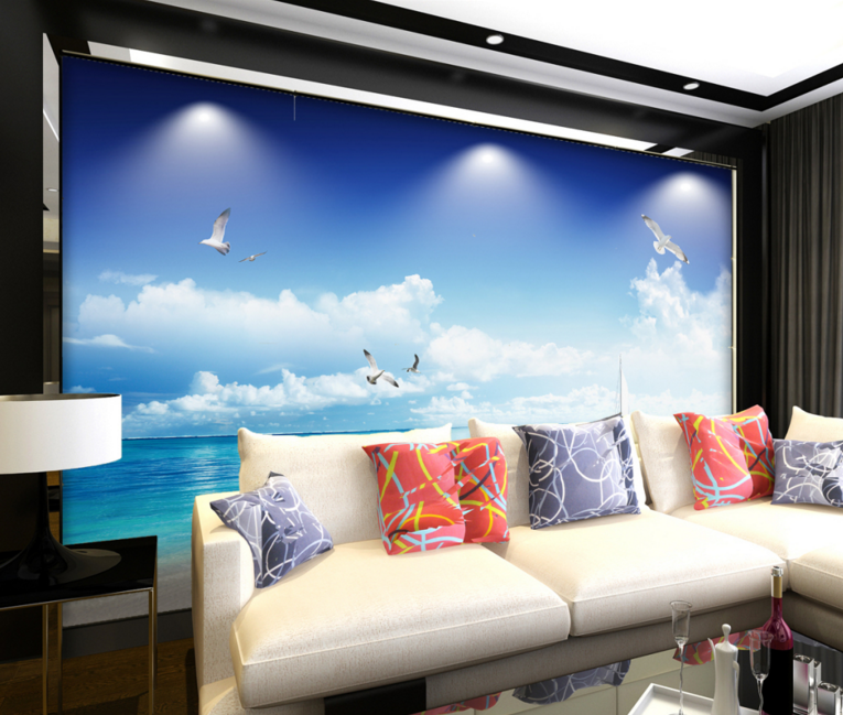 3D Weiß Clouds Egrets Paper Wall Print Wall Decal Wall Deco Indoor Murals