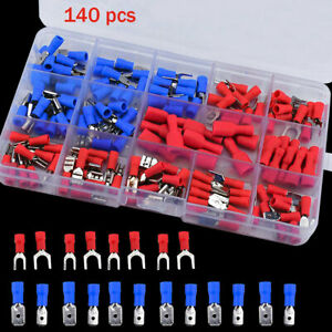 140PCS Insulated Electrical Crimp Terminals Wire Connectors Spade Kit