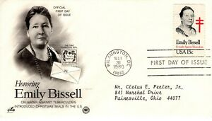 1980-Commemorative-Emily-Bissell-Founder-Noel-Seals-Art-Artisanat-Pcs-Addr-FDC