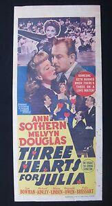 THREE-HEARTS-FOR-JULIA-1943-Rare-Australian-daybill-movie-poster-Ann-Sothern