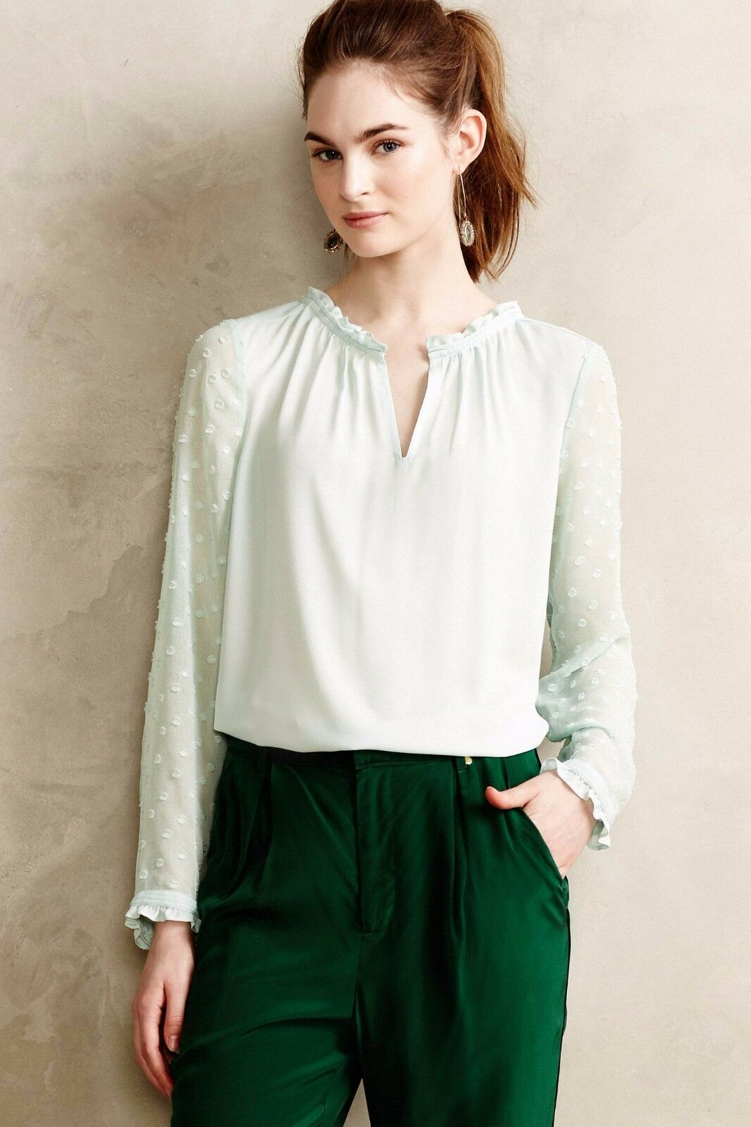 NWT Anthropologie Josie Clipdot blouse top by HD in Paris, Grün-8, Ladylike