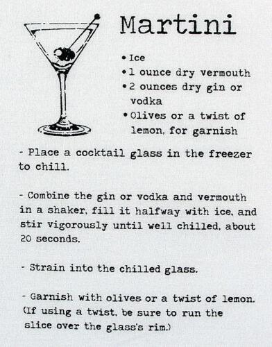 "Martini Recipe Men/'s Pocket Square 11/"" Suit Handkerchief White Drinking Hanky"