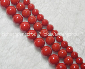 Beautiful-8-10-12mm-Coral-Red-South-Sea-Shell-Pearl-Round-Loose-Beads-15-039-039