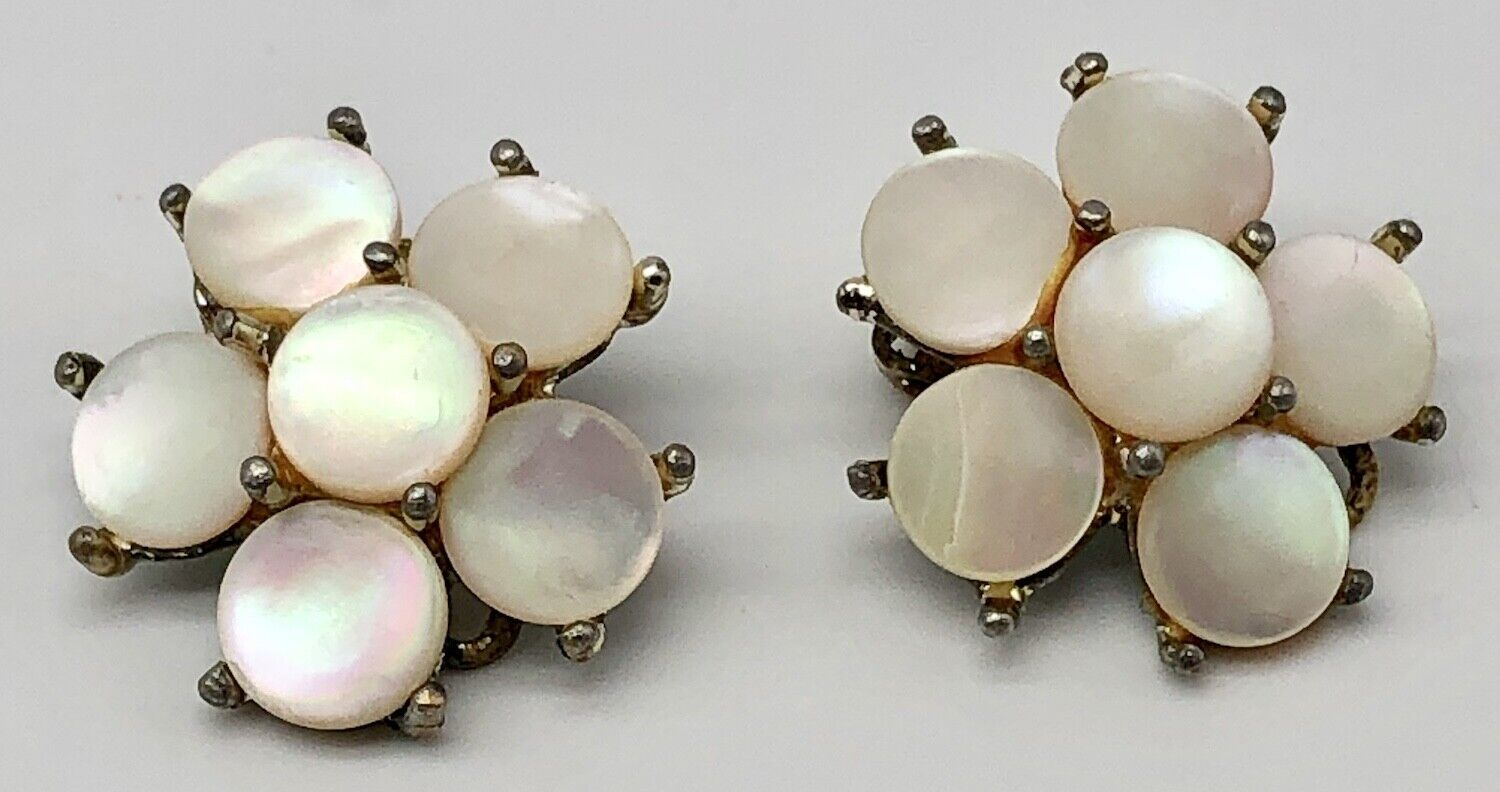 Sleek Classic Free Shipping Set in Gold FIlled Vintage 1940/'s Marhill Mother of Pearl Earrings